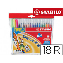 Rotulador stabilo trio caja de 18 colores