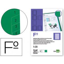 Separador liderpapel plastico numerico 1 al 31 folio