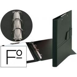 Carpeta 4 anillas 25 mm lengueta miniclip plastico saro folio negra
