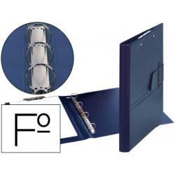 Carpeta 4 anillas 25 mm lengueta miniclip plastico saro folio azul