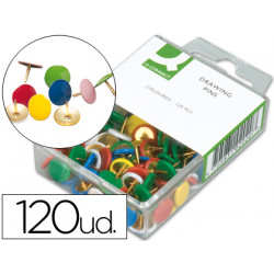 Chinchetas qconnect colores surtidos caja de 120 unidades