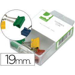 Pinza metalica qconnect reversible 19 mm caja de 6 unidades colores surt