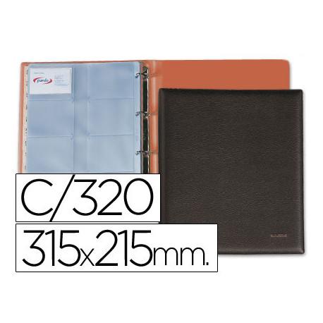 Tarjetero pardo folio para 320 tarjetas similpiel negro
