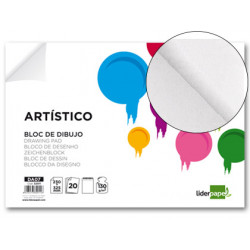 Bloc dibujo liderpapel artistico encolado 230x325mm 20 hojas 130g/m2 sin re