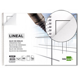 Bloc dibujo liderpapel lineal espiral 230x325mm 20 hojas 130g/m2 con recuad