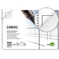 Bloc dibujo liderpapel lineal espiral 230x325mm 20 hojas 130g/m2 con recuad