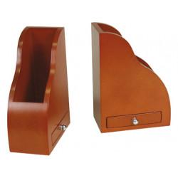 Apoyalibros madera d043 con cajon color cognac juego 145x80x210 mm