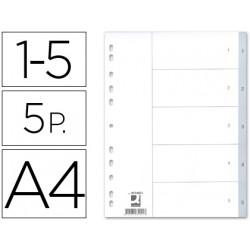 Separador numerico qconnect plastico 15 juego de 5 separadores din a4 mu