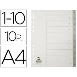 Separador numerico qconnect plastico 110 juego de 10 separadores din a4