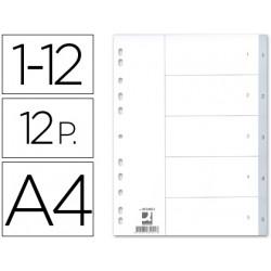 Separador numerico qconnect plastico 112 juego de 12 separadores din a4