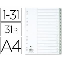 Separador numerico qconnect plastico 131 juego de 31 separadores din a4
