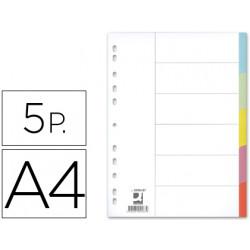 Separador qconnect cartulina juego de 5 separadores din a4 multitaladro