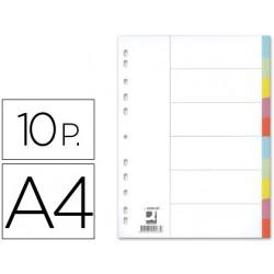 Separador qconnect cartulina juego de 10 separadores din a4multitaladro