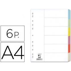 Separador qconnect cartulina juego de 6 separadores din a4 multitaladro
