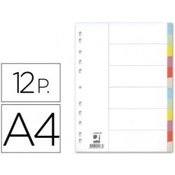 Separador qconnect cartulina juego de 12 separadores din a4multitaladro