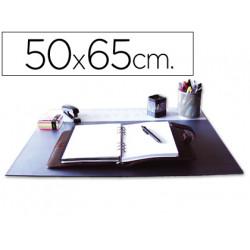 Vade sobremesa qconnect negro con solapas transparentes 50x65 cm