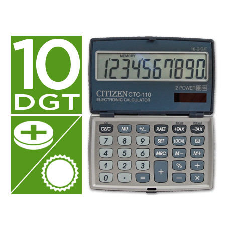 Calculadora citizen bolsillo ctc110 10 digitos plata 106x63x14 mm
