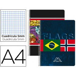 Cuaderno espiral liderpapel microperforado a4 80h cuadro 5mm 4 colores kapp