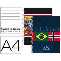 Cuaderno espiral liderpapel microperforado a4 80h horizontal 4 colores kapp