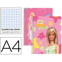 Cuaderno espiral liderpapel microperforado a4 80h cuadro 5mm 4 colores barb