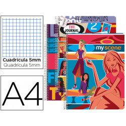Cuaderno espiral liderpapel microperforado a4 80h cuadro 5mm 4 colores my s
