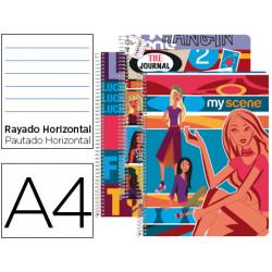 Cuaderno espiral liderpapel microperforado a4 80h horizontal 4 colores my s