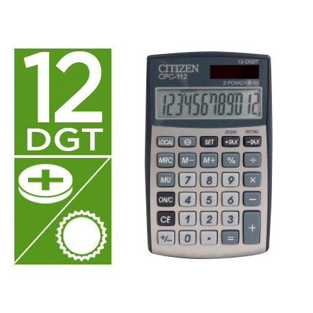 Calculadora citizen bolsillo cpc112 12 digitos plata 120x72x9 mm