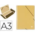 Carpeta liderpapel gomas a3 3 solapas carton prespan amarilla