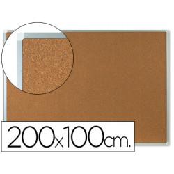 Pizarra corcho qconnect marco de aluminio 200x100 cm extra corcho 5 mm