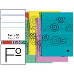 Cuaderno espiral liderpapel folio imagine tapa plastico 80h 60 gr pauta 25