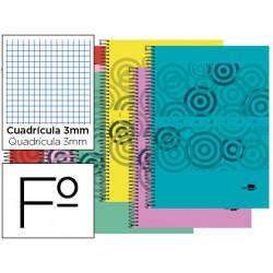 Cuaderno espiral liderpapel folio imagine tapa plastico 80h 60 gr cuadro 3m