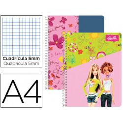 Cuaderno espiral liderpapel microperforado a4 80h cuadro 5mm 4 taladros bar