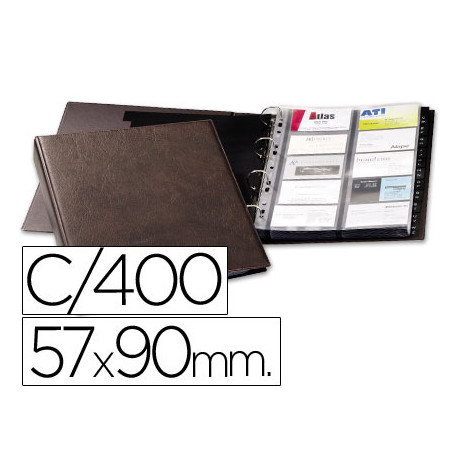 Tarjetero duraclip visifix marron 20 fundas para 400 tarjetas tamaño din a4