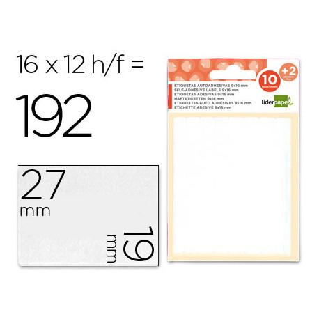Etiquetas liderpapel sobre de 10 h + 2 h obsequio 19x27 mm 16 unidades p