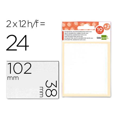 Etiquetas liderpapel sobre de 10 h + 2 h obsequio 38x102 mm 2 unidades p