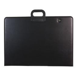 Cartera portadocumentos qconnect negra con asa con cremallera din a1 594x8