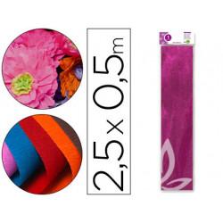 Papel crespon liderpapel 50 cm x 25m metalizado rosa