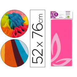 Papel seda liderpapel 52x76cm 18g/m2 bolsa de 5 hojas rosa