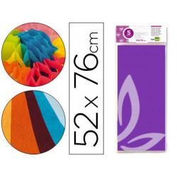 Papel seda liderpapel 52x76cm 18g/m2 bolsa de 5 hojas violeta