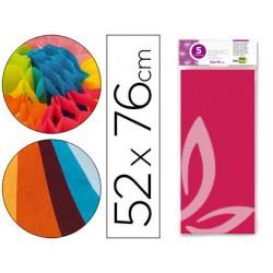Papel seda liderpapel 52x76cm 18g/m2 bolsa de 5 hojas rosa fuerte