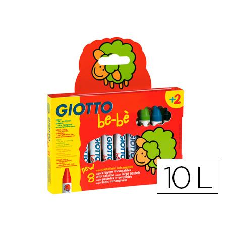 Lapices cera giotto super bebe caja de 10 colores surtidos + sacapuntas