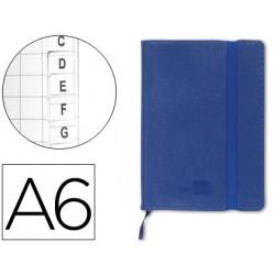 Libreta liderpapel simil piel a6 120 hojas 70g/m2 indice azul