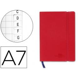 Libreta liderpapel simil piel a7 120 hojas 70g/m2 indice rojo