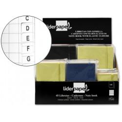 Libreta liderpapel simil piel 120 hojas 70g/m2 cuadro 4mm + indice exposito