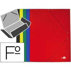 Carpeta liderpapel gomas folio 3 solapas carton plastificado colores surtid