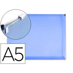 Carpeta dossier liderpapel a5 cierre de cremallera azul