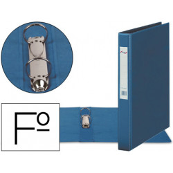 Carpeta 2 anillas 40 mm plastico pardo folio azul
