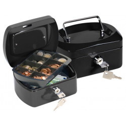 Caja caudales qconnect 6 152x115x80 mm negra con portamonedas