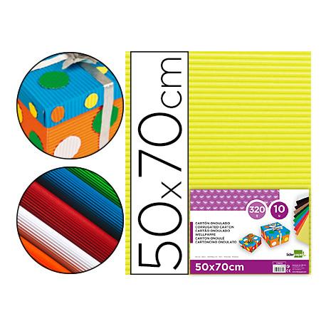 Carton ondulado liderpapel 50 x 70cm 320g/m2 amarillo