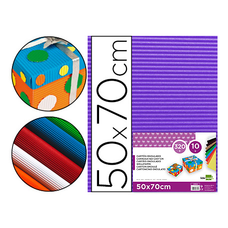 Carton ondulado liderpapel 50 x 70cm 320g/m2 violeta